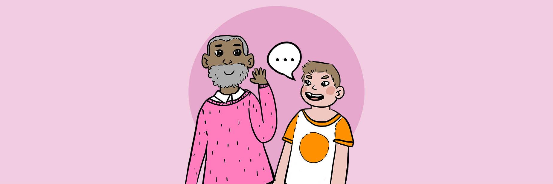 Barnkonventionens artikel 12 föreställande ett barn med t-shirt, som vänd mot en äldre man med skägg och ett mycket stort öra säger sin åsikt i form av en pratbubbla med ett utropstecken.