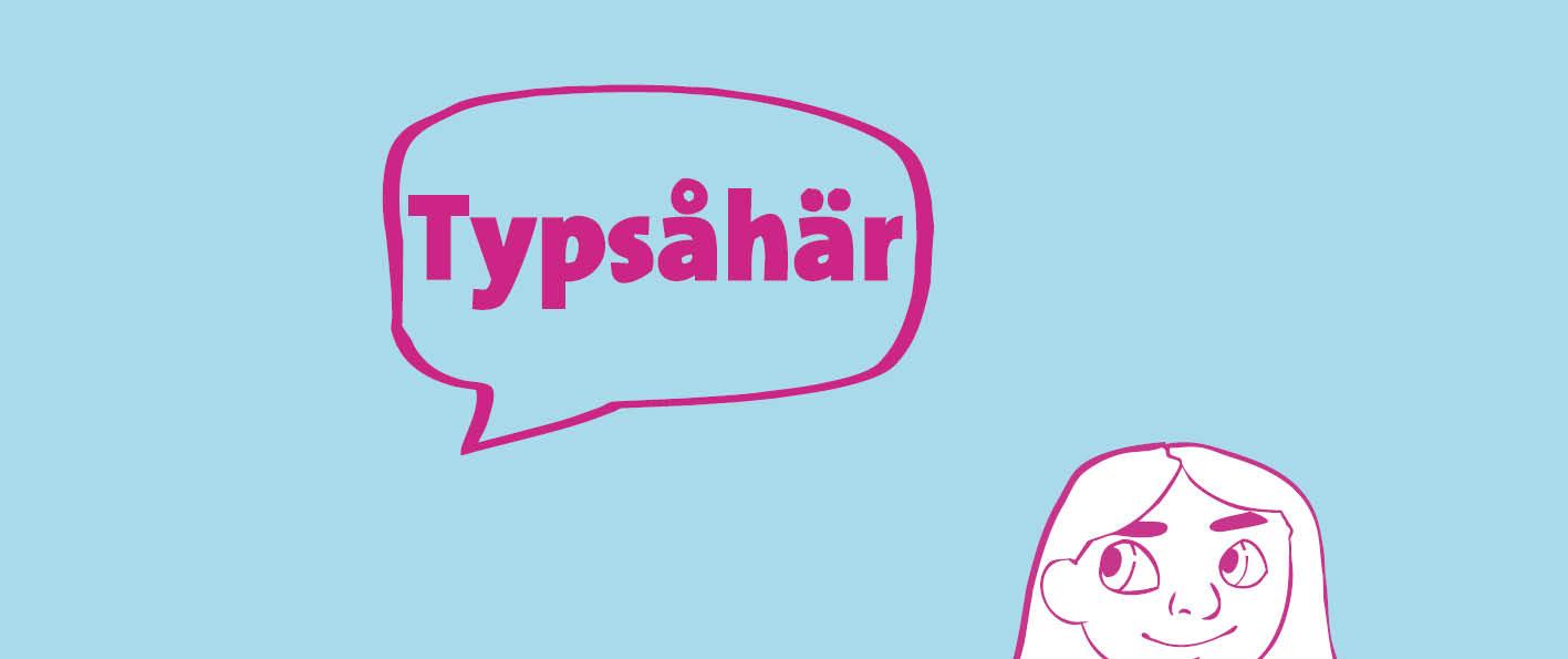 Logo för Typ så här med pratbubbla och pillemariskt barn