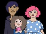 Tre barn i olika åldrar