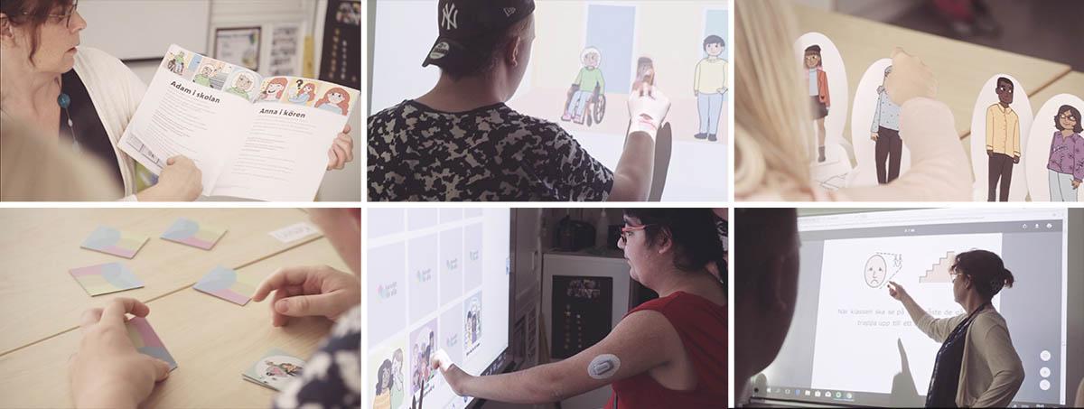 Bilder som visar materialet i Barnrätt för alla under användning